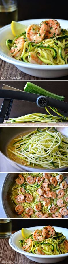 Skinny Shrimp Scampi with Zucchini Noodles by justataste via foof-drink #Shrimp #Zucchini_Noodles #Light