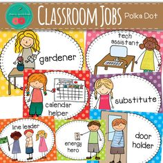 Classroom Jobs - polka dot classroom decor. 26 classroom jobs - boy and girl included for a total of 52 classroom jobs cards with bright polka dot background
