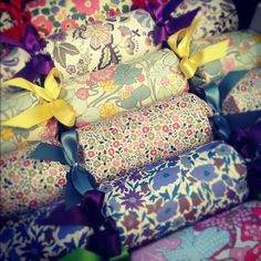 Bon bons for everyone and these pretty patterns will only add to the cheerful mood on the Christmas Crafts, Christmas Decorations, Christmas Things, Christmas 2014, White Christmas, Proper Crimbo, Eco Store, Liberty Print, Liberty Fabric