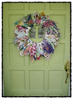 vintage old hanky hankie wreath made by me ~mbr~Some Vintage Hankie Ideas