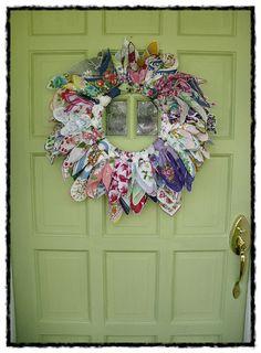 vintage old hanky hankie wreath made by me ~mbr~Some Vintage Hankie Ideas