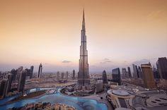 The Burj Khalifa in Dubai, one of the many skyscrapers of the Dubai skyline.