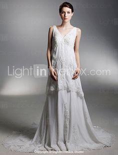 A-line V-neck Chapel Train Chiffon Wedding Dress With Luxury Beaded Appliques - USD $ 299.99
