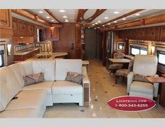"2013 Itasca Ellipse RV Interior - Love it!-- use of space (sofa/""L"" counter)"