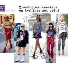 """""""Trend-item: sweaters en t-shirts met print."""" By Margriet Roorda-Faber, Style Consulting. Sweater Fashion, Kenzo, T Shirts, Zara, Meet, Planning, Sweaters, Outfits, Style"""