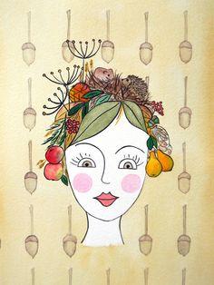 Herbst, Motiv 3 der Jahreszeiten, 18x22,5cm, Aquarell/Tusche auf Bütten 200g