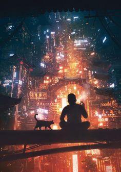 smoke break, Chinatown #dystopia #cyberpunk #future