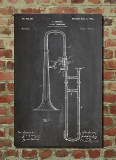 Slide Trombone Patent Wall Art Poster by PatentPrints on Etsy, $6.99: Slide Trombone Patent Wall Art Poster  This patent poster is printed on 90 lb. Cardstock paper. Choose between several paper styles and multiple sizes. These are awesome posters of inventions that have changed our lives throughout history.