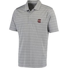 South Carolina Gamecocks Cutter & Buck Interbay Melange Stripe DryTec Polo - Heathered Gray