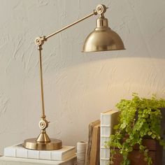 Lighting - This classically inspired brass table lamp features a single bulb and a slim, slight frame, perfect to light up tighter corners or anchor a warm reading nook. Decor, Stylish Table Lamps, Bright Homes, Brass Table Lamps, Table Lamp, Birch Lane Lighting, Home Decor, Hanging Lamp, Modern Lamp