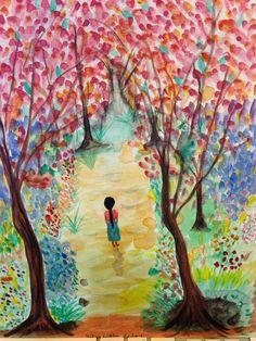 Maria caminando al cielo, pintura por Helen R Cofone , acuarelas