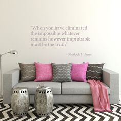 Wall Decal Sherlock Holmes Wall Quote Eliminated the