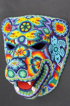 Huichol papel mache jaguar head mask