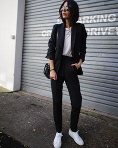 LEE MATTHEWS   suit pants / LEE MATTHEWS   pinstripe blazer / COMMON PROJECT   sneakers / A.P.C. PARIS   half-moon bag / CELINE sunnies