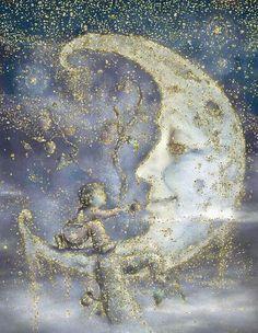 illustration by James Christopher Carroll, sparkle added Sun Moon Stars, Sun And Stars, Fantasy Kunst, Fantasy Art, Moon Dance, Moon Pictures, Paper Moon, Good Night Moon, Moon Magic