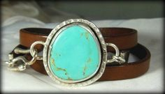 American Turquoise Wrap Bracelet, Turquoise and silver cuff bracelet, leather and turquoise bracelet