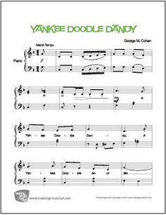 I'm a Yankee Doodle Dandy Free Printable Sheet Music, Free Sheet Music, Easy Piano Sheet Music, Music Sheets, Yankee Doodle Dandy, Music Theory Worksheets, Bible Songs, Christmas Sheet Music, Keyboard Piano