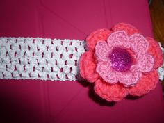 Crochet Pink Flower Attached Band by TrueColorsBoutique on Etsy