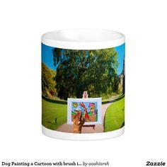 #Dog Painting a Cartoon with brush in Garden Classic White #Coffee #Mug #tea
