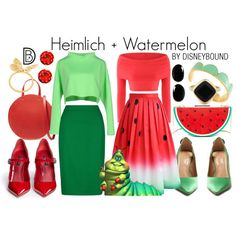 Disney Bound: Heimlich + Watermelon from Disney's A Bugs Life (Pairs Outfit) Disney Inspired Fashion, Disney Fashion, Character Inspired Outfits, Disney Bound Outfits, Dapper Day, Fandom Fashion, Vintage Gowns, Professional Outfits, Disneybound