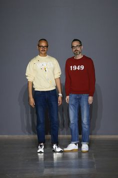 Viktor Horsting and Rolf Snoeren, more commonly known as Viktor & Rolf. Conteporary Fashion Designers work on textile avantgarde surfing on the limits of wearability and winking at the most radical art movement in recent history #fashionart #design #avantgarde