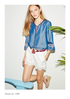 Denim embroidery top. Linen and lace pants
