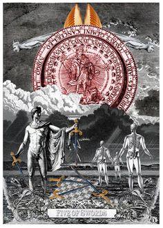 Five of Swords - Arthur Taussig Collage Tarot