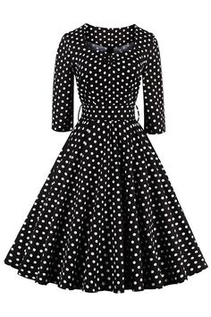 Womens 1950's vintage black dress featuring fitted bodice with round neckline and 3/4 half sleeves design. It has flared skirt covered with white polka dot pattern. https://atomicjaneclothing.com/products/atomic-vintage-polka-dot-casual-swing-dress-with-belt