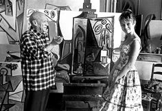 April 1, 1956: Bridgitte Bardot with Pablo Picasso at his studio in Cannes, France.