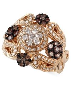 Espresso by Effy Brown (1/2 ct. t.w.) and White Diamond (1/2 ct. t.w.) Ornate Ring in 14k Gold