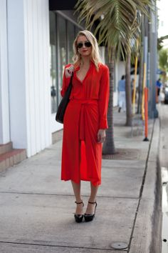 Chic red shirtdress - Miami Art Basel 2012 Street Style
