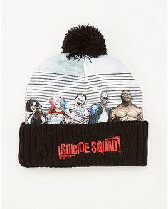 43b0e90c68c Line Up Suicide Squad DC Comics Pom Beanie Hat - Spencer s
