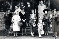 L-R Sarah Sarah Ferguson, The Queen Mother, Prince Andrew, The Princess Diana, Prince Edward (at rear), Prince Charles, Zara Phillips, Peter Phillips, Prince William, Prince Philip, Princess Margaret, The Queen in the late 1980s