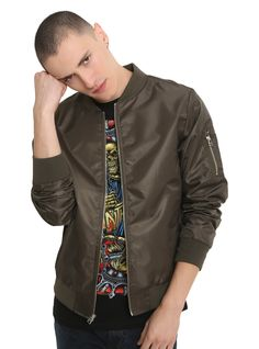 """The wait is over! We have the bomber jacket you've been looking for. This lightweight polyester bomber jacket features all of the classic stylings, including banded trim, front pockets, zip & pouch pockets on the left sleeve and a full front zip closure. Just throw it on over your favorite band tee and your look is complete.<br><ul><li style=""""list-style-position: inside !important; list-style-type: disc !important"""">100% cotton</li><li..."""