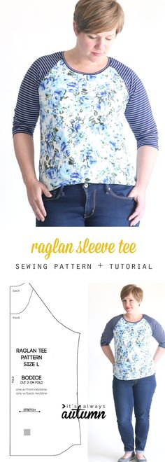 free raglan tee shirt sewing pattern {women's size large Learn how to sew a raglan sleeve (baseball) tee shirt with this easy sewing tutorial and free pdf sewing pattern in women's size large. Raglan Shirts, T-shirt Raglan, Baseball Tee Shirts, Sewing Patterns Free, Free Sewing, Clothing Patterns, Pattern Sewing, Shirt Patterns For Women, Pants Pattern