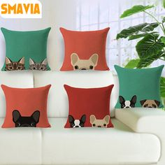 Lovely Cat/Dog Pattern Design Cushion Cover Cotton&Linen Fabric Decorate Couch Car Pillowcase 45*45cm Covers-Washable/1pc Covers #Affiliate