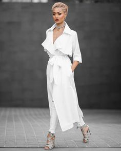 So fresh and so clean  Trench & jeans by @windsorstore // Heels by @wantedshoes | Micah Gianneli - All white