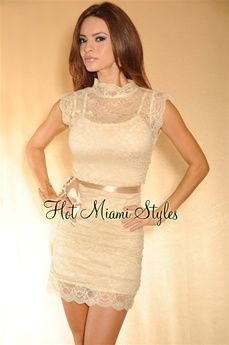 <3 the color/lace    link: http://www.hotmiamistyles.com/Cream_Beige_Lace_Ruched_High_Neck_Belted_Dress_p/ad1084%20cream%20beige.htm