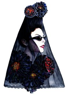 Diane Pernet, A Shaded View on Fashion - -illustration by Sunny Gu #fashion #illustration #fashionillustration