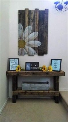In this picture a simple wooden pallet wall decor idea is shown which is hangs on the wall and it is clearly shown in the picture which you can watch it carefully and understand it completely which is already very simple and you can easily make it in your home to make it yours.