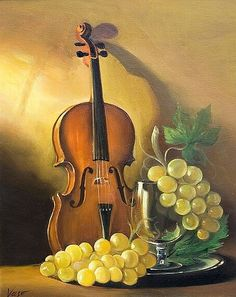 Musik in der Malerei Taringa! Violin Painting, Violin Art, Painting Art, Fruit Painting, Oil Painting Flowers, Painting Still Life, Still Life Art, Oil Painting Pictures, Art Pictures