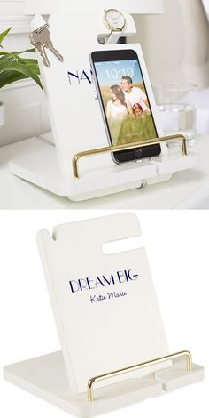 A back to college gift she can use in her dorm to keep her mobile phone, keys, bracelet or watch and glasses organized on her desk or nightstand, this white finish wood docking station can be personalized with your daughter, granddaughter, niece, girlfriend, mom or best friend's name or initials. It can also be used as a book or tablet stand when doing homework.