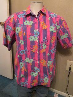 Men's Tropical Hawaiian Shirt Size Large by VintageBADTIQUE