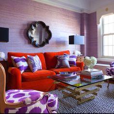 Lavender, Pink, and Orange living room