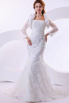 Mermaid White Lace Chapel Train Strapless Wedding Dress