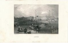 Harbor view of Canton China 1847 antique scenic print #Realism