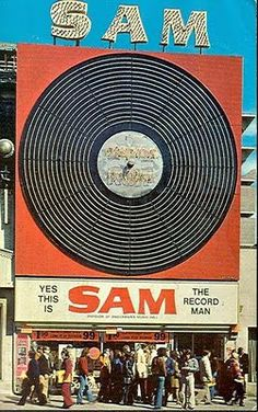 Off to buy that hit single. Sam the Record Man, Canada's largest record store, once boasted 140 locations across Canada. The most famous was Sam's flagship store on Yonge St. in Toronto, which opened in Vintage Tv, Vintage Signs, Vintage Posters, Vinyl Records, Vinyl Record Shop, Ask The Dust, Retro, Radios, Poster
