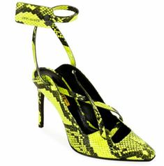 Warped Snake-Print Pumps by Off-White at Bergdorf Goodman. Heeled Loafers, Pumps Heels, Stiletto Heels, Stilettos, Manolo Blahnik Heels, Red Louboutin, White Pumps, Spring Shoes, Ankle Straps