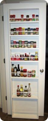 spice rack on a door.