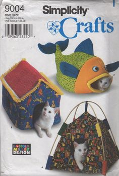 Simplicity 9004 Cat Bed Sewing Pattern 3 Designs Tent Bed House Bed and Fish Bed Animal Sewing Pattern UNCUT Longia Miller